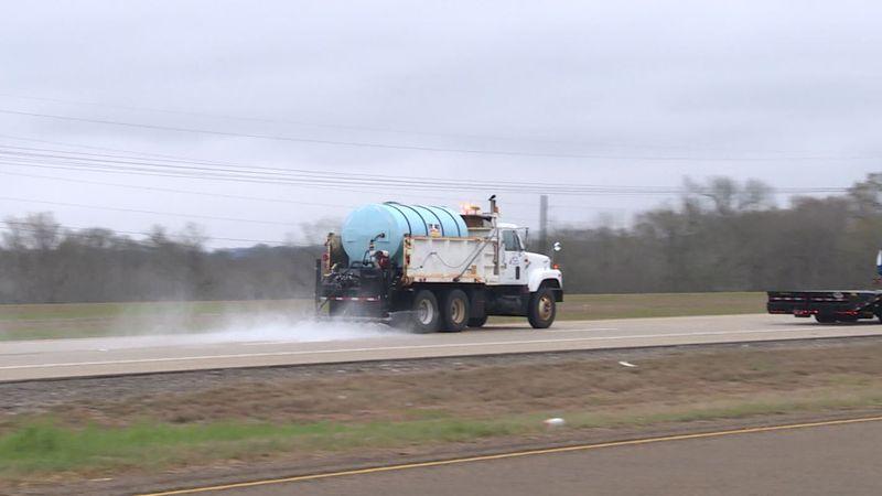 TxDOT crews are treating Highway 6 with brine near the Navasota River.