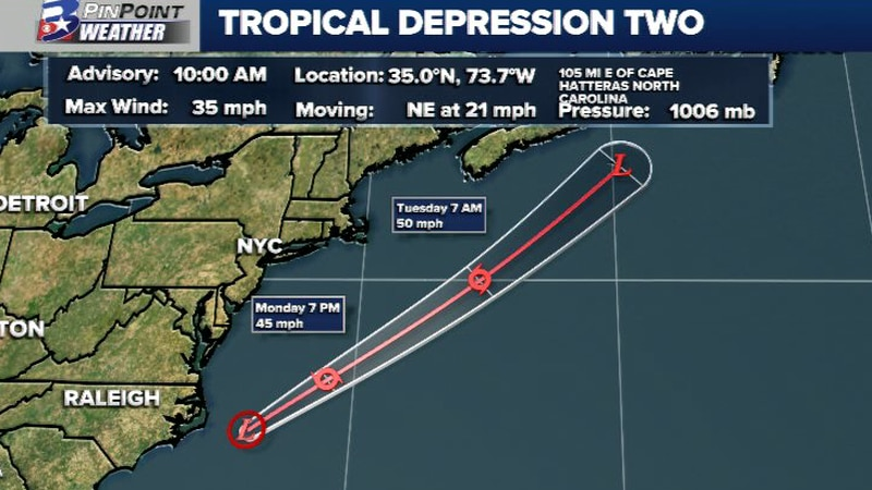 Tropical Depression Two has formed off the Carolina coast. It will continue moving northeast...