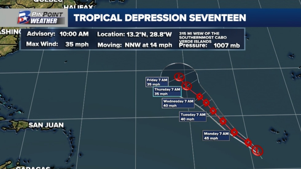 The 10am CDT forecast for Tropical Depression Seventeen