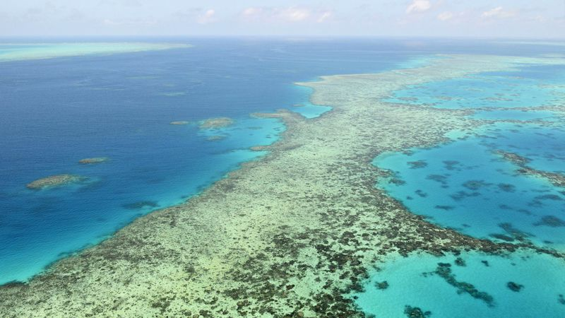 FILE - This aerial photo shows the Great Barrier Reef in Australia on Dec. 2, 2017.