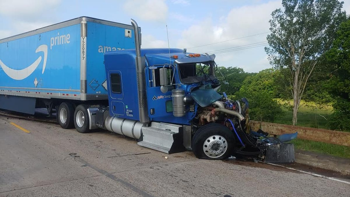 Two semi-trucks collided Tuesday morning on Highway 90 in Grimes County.