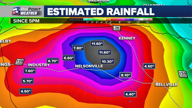 Life-threatening flooding is ongoing in North Austin County after nearly one foot of rain fell...