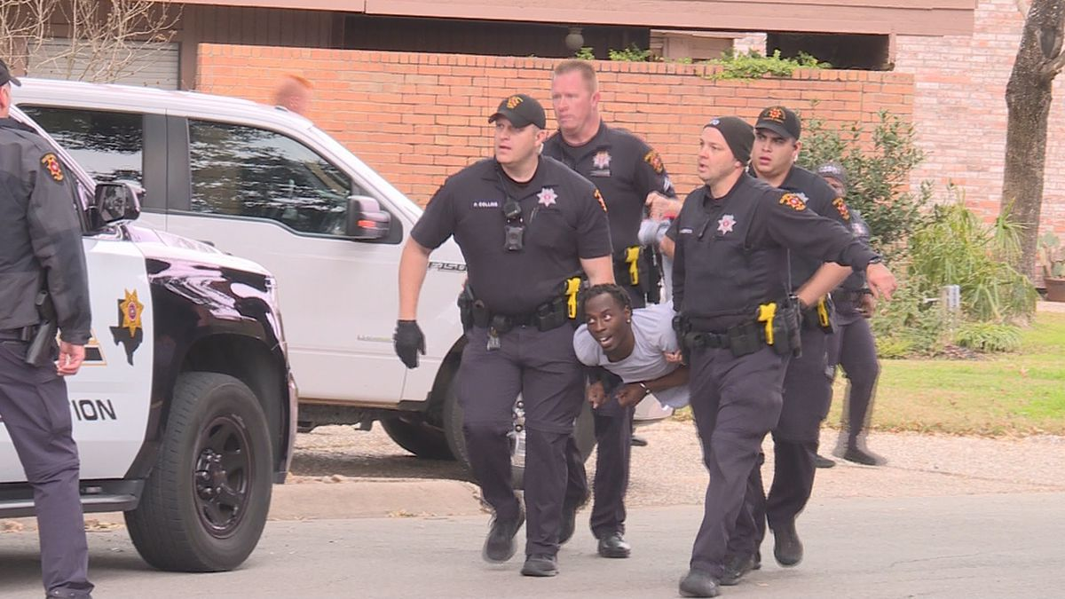 College Station police said they had to use leg restraints on a wanted man who damaged a police...