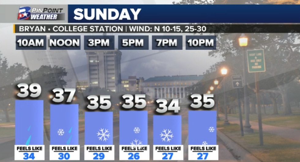 Daypart forecast for Sunday, January 10th