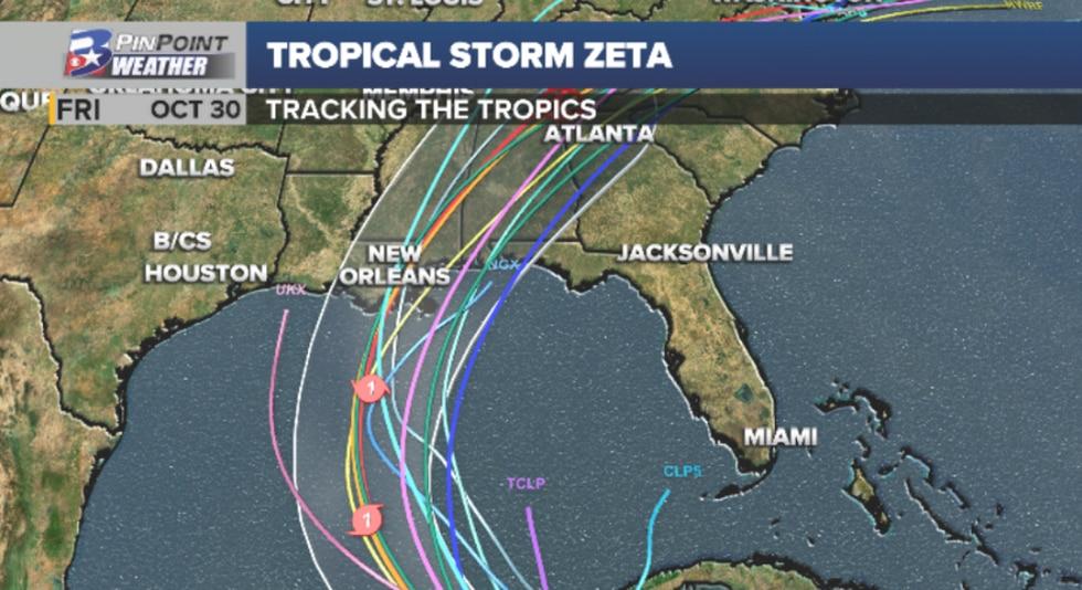 Official forecast cone for Tropical Storms Zeta encompasses all forecast model solutions, as of...