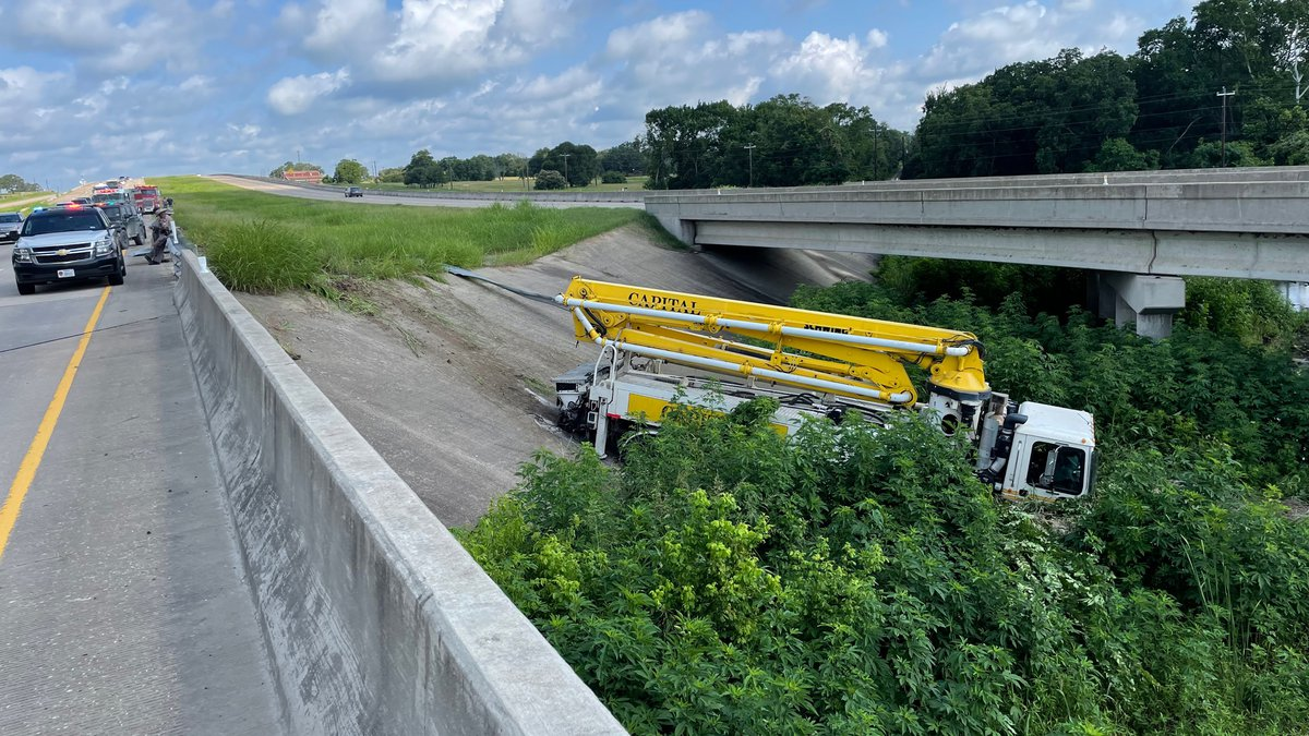 Concrete truck runs off Highway 6, lanes closed.