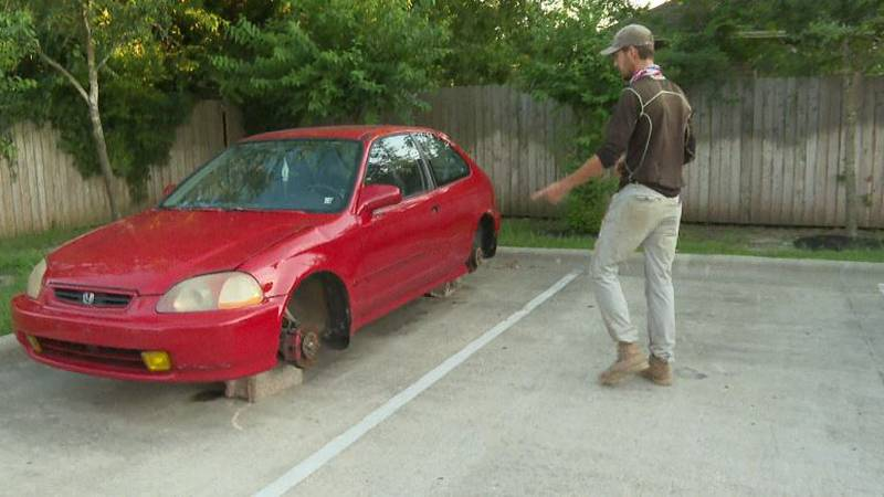 Peter Hamiter says his four tires, and several other car parts were stolen last week.