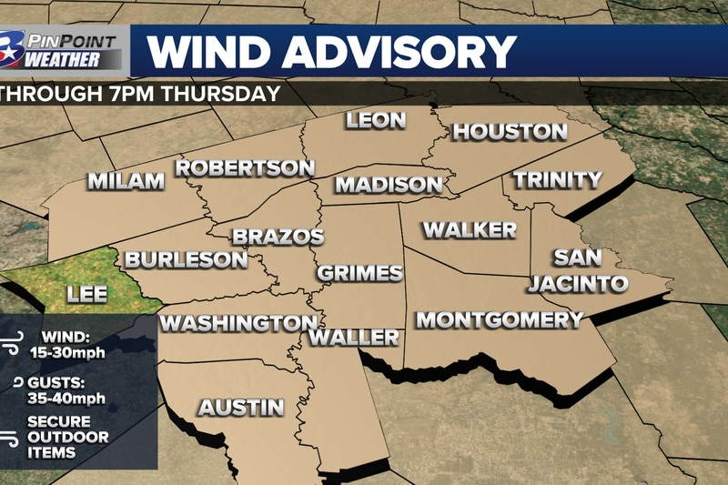 A WIND ADVISORY is in effect for the Brazos Valley Thursday, October 27