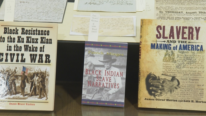 Collection of slavery books and artifacts at the Cushing Library at Texas A&M