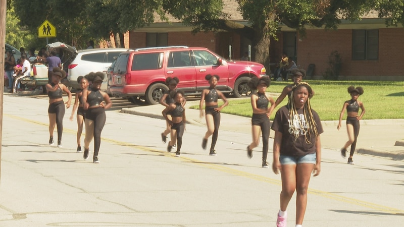 Dance group in Juneteenth parade in Bryan