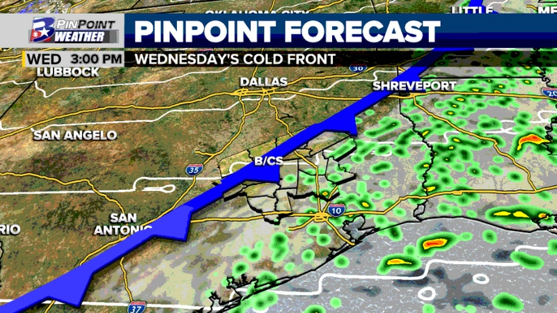 A cold front pushing through the Brazos Valley Wednesday will give us the chance to see spotty...