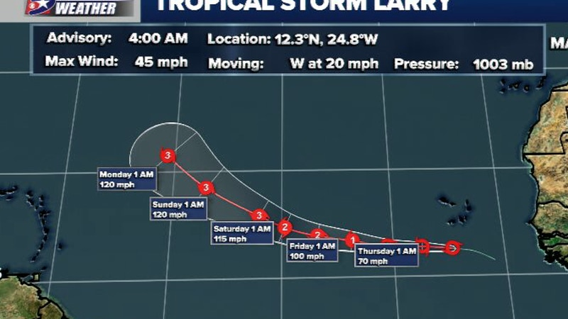 The 4am Thursday advisory from the NHC on Larry.